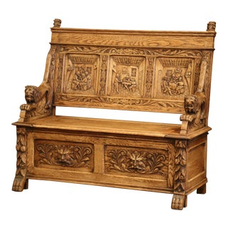 Exceptional 19th Century French Carved Oak Bench With Storage Trapdoor For Sale