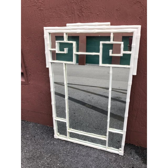 1970s 1970s Vintage Hollywood Regency White Greek Key and Faux Bamboo Vertical Mirror For Sale - Image 5 of 5
