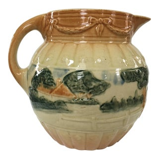 Vintage Tan Hand Painted Majolica Pitcher For Sale
