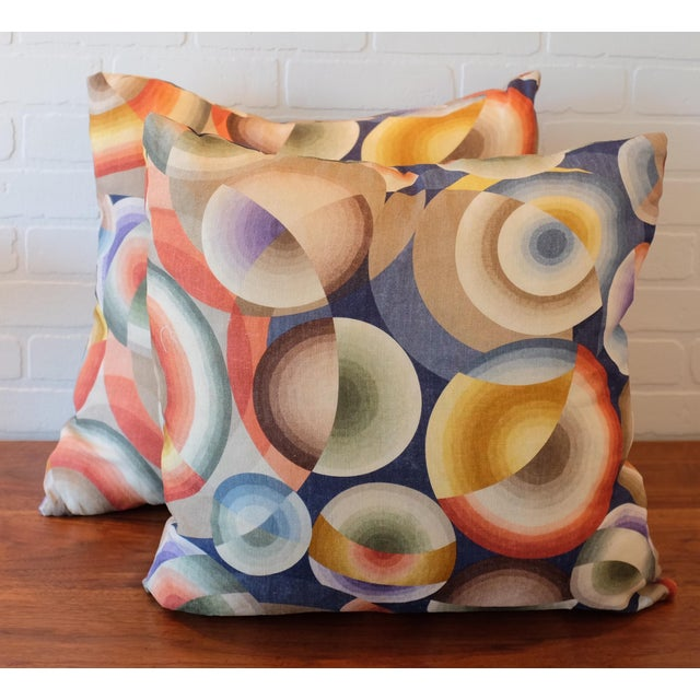 """A pair of designer custom 22""""x22"""" Pierre Frey 100% linen pillows with a Sonia Delaunay print. The fabric is woven and..."""