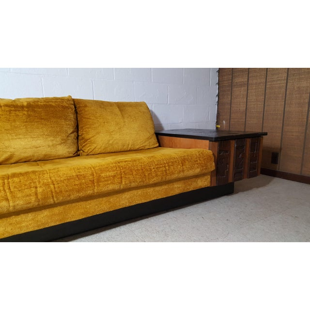 Yellow 1970s Brutalist Lane Furniture 'Pueblo' Sofa W/ Attached End Tables For Sale - Image 8 of 13
