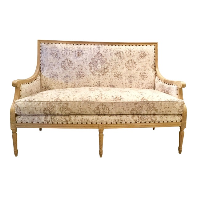 Currey & Co. Transitional Lancaster Settee For Sale