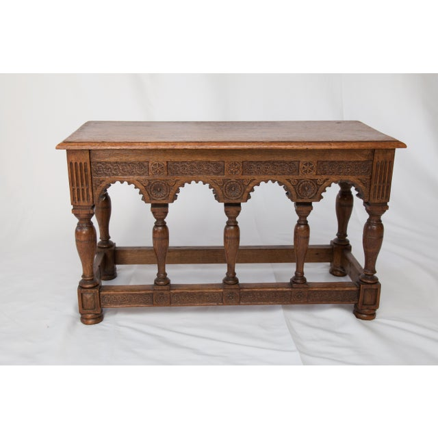 French 19th-Century Antique French Carved Oak Bench For Sale - Image 3 of 10