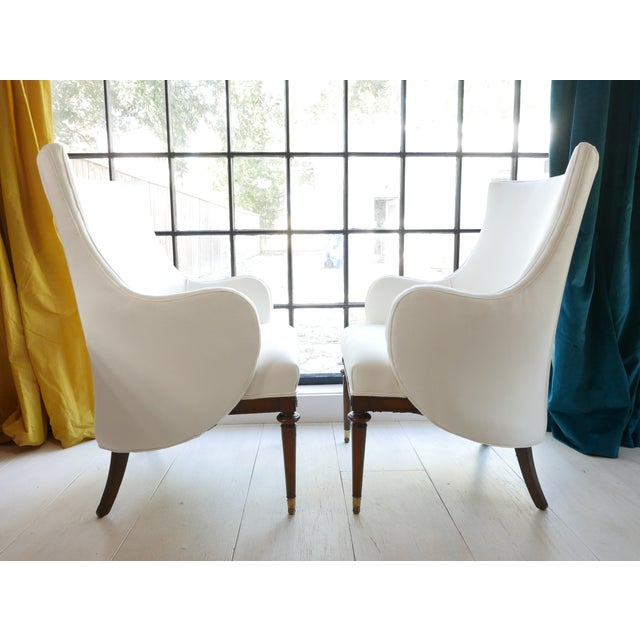 Modern Vintage Mid-Century White Armchairs- A Pair For Sale - Image 3 of 11