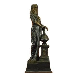 Nefertiti Next to a Pillar Bronze Sculpture on Marble Base Statue