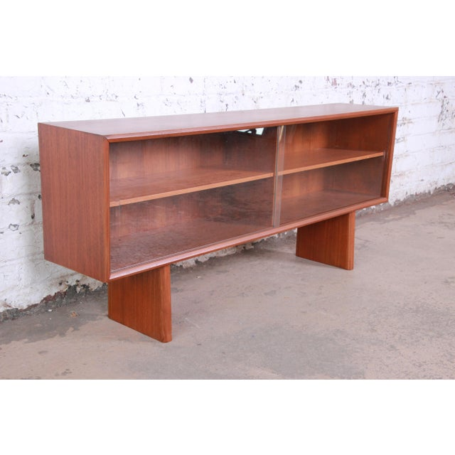 1960s Svend Aage Larsen for Faarup Danish Modern Teak Glass Front Bookcase or Credenza For Sale - Image 5 of 11