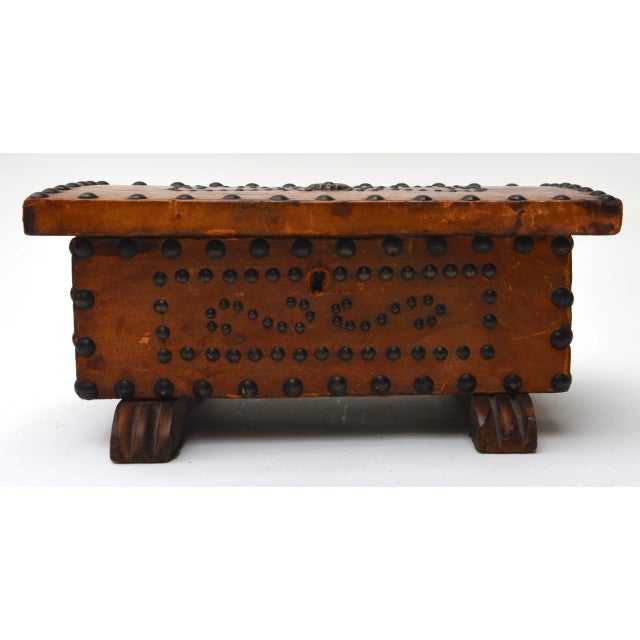 Late 19th Century Old West Brass Studded Embellished Leather-Clad Small Box For Sale - Image 5 of 7