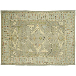 Turkish Oushak Area Rug With Earth-Tone Colors - 10'11 X 14'09 For Sale
