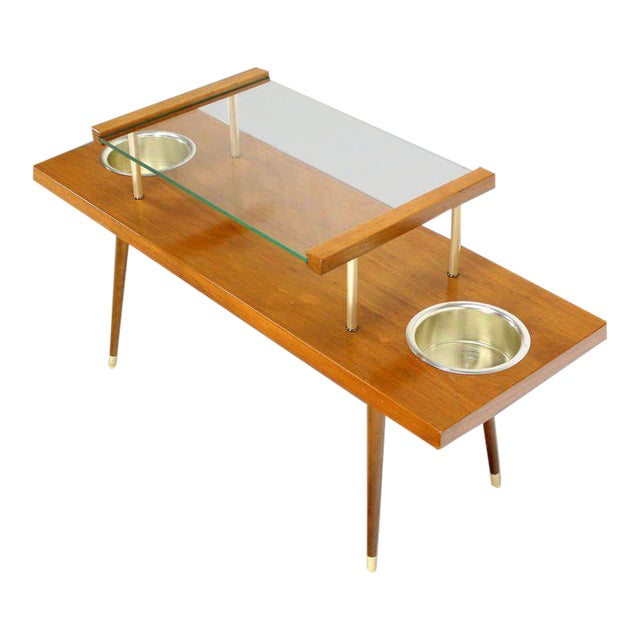 Mid-Century Modern Walnut and Glass-Top Console Table With Planters For Sale