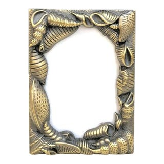 Mid-Century Brass Shell Picture Frame For Sale