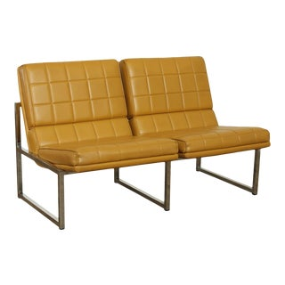 Chromcraft 2 Seat Tufted Floating Lounge Settee - Mid Century For Sale