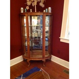 Antique Oak Curved Glass Curio Cabinet Preview