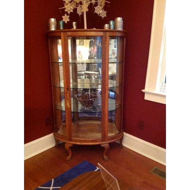 Victorian oak china cabinet with original finish, three glass shelves and  one bottom oak shelf. Traditional Antique Oak Curved ... - Antique Oak Curved Glass Curio Cabinet Chairish