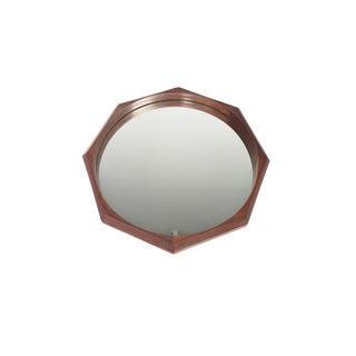 Italian Modern Walnut Octagonal Wall Mirror For Sale