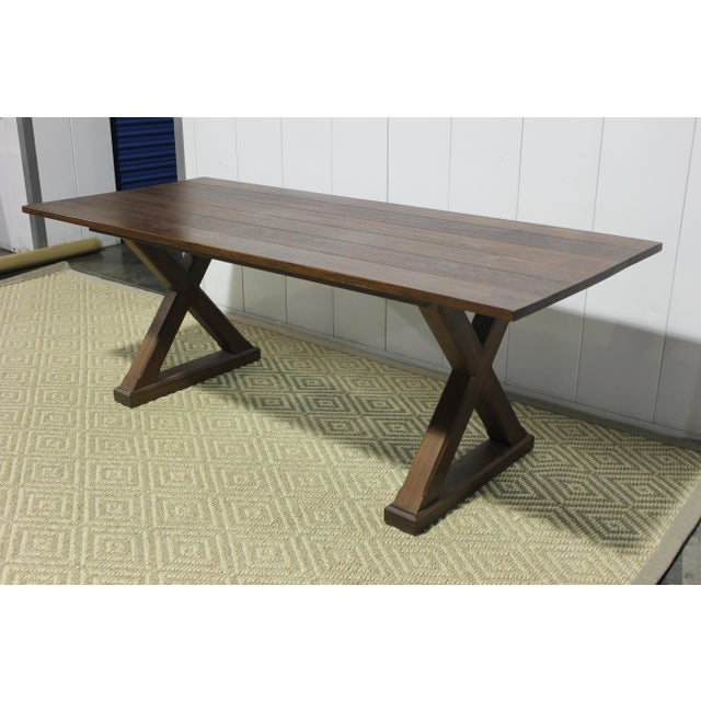 English Custom X Base Mahogany Dining Table For Sale - Image 3 of 12