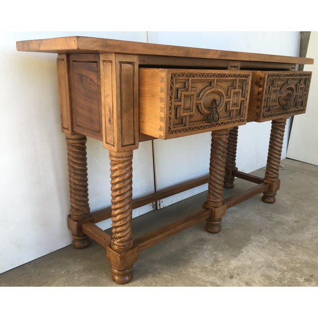Early 19th Century Carved Walnut Wood Catalan Spanish Console Table For Sale - Image 10 of 13