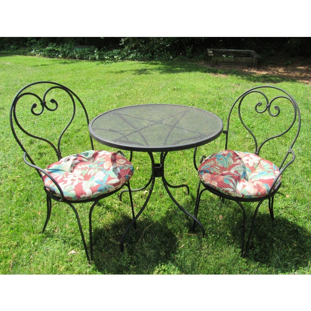 Mid-Century Modern Woodard Parisian Style Wrought Iron Patio Outdoor Bistro Cafe Set- 3 Pieces For Sale - Image 3 of 11