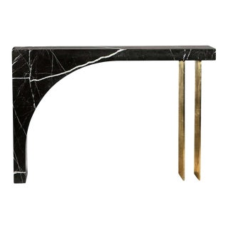 Found II Console Table No.2 in Black Marble by a Space For Sale