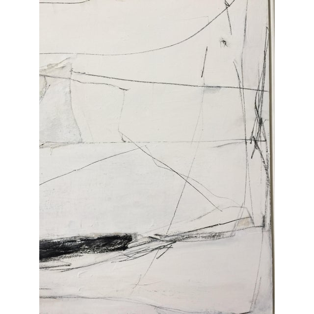 2010s Abstract Black and White Mixed Media Painting For Sale - Image 5 of 7