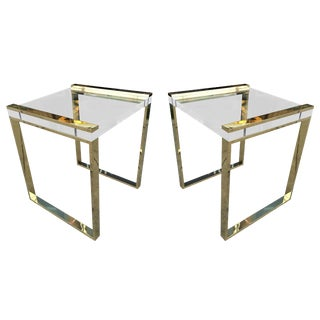 Pair of Charles Hollis Jones Side Tables in Lucite and Brass For Sale