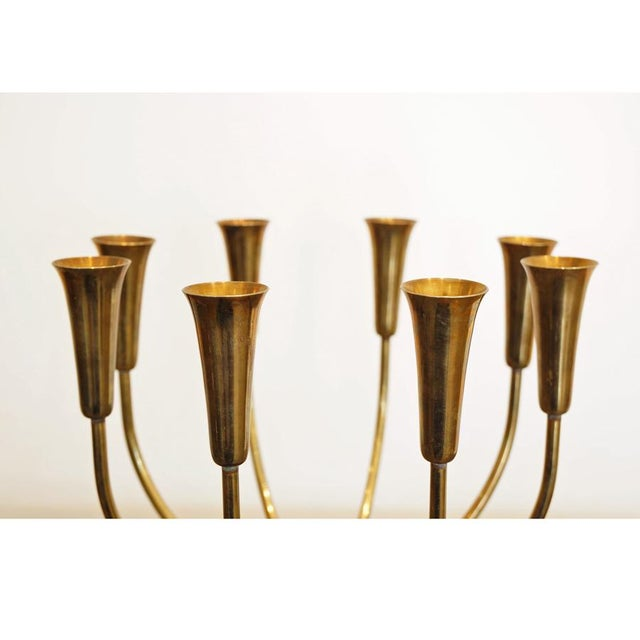 Pair Illums Bolighus Brass Candelabra For Sale - Image 4 of 10