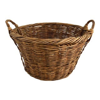 Large French Willow/Wicker Basket W/Handles For Sale