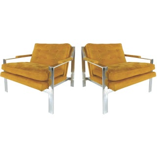 Pair of Mid-Century Modern Chrome Chairs by Cy Mann For Sale