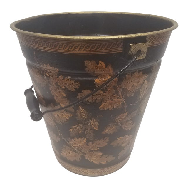 English Antique Bucket / Pail With Decoupage Leaves - Found in Southern England For Sale