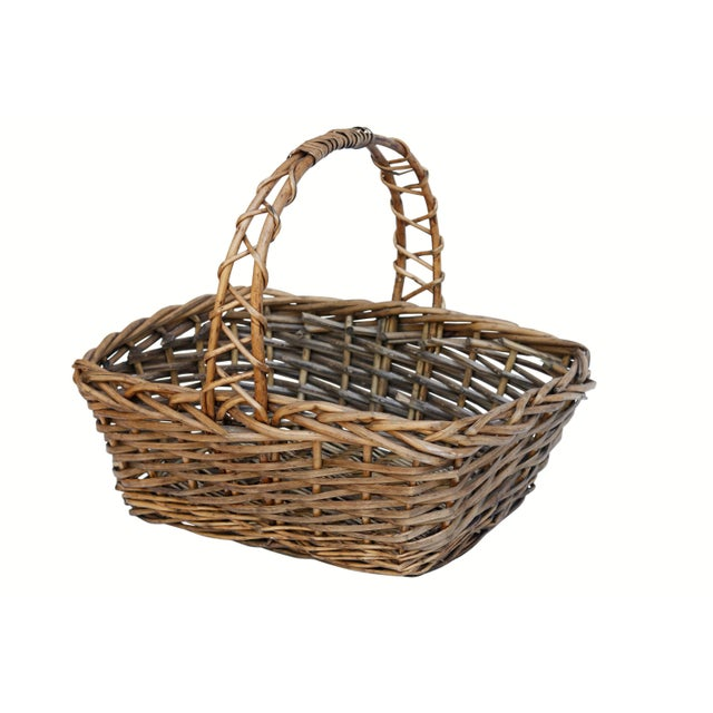 Vintage French Wicker Shopping Basket For Sale In Boston - Image 6 of 6