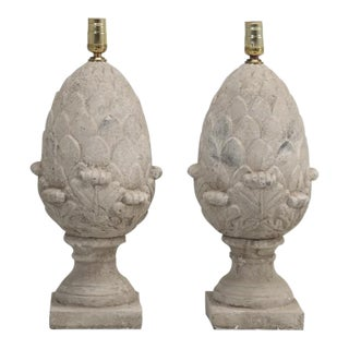 Artichoke Faux Stone Lamps - a Pair For Sale