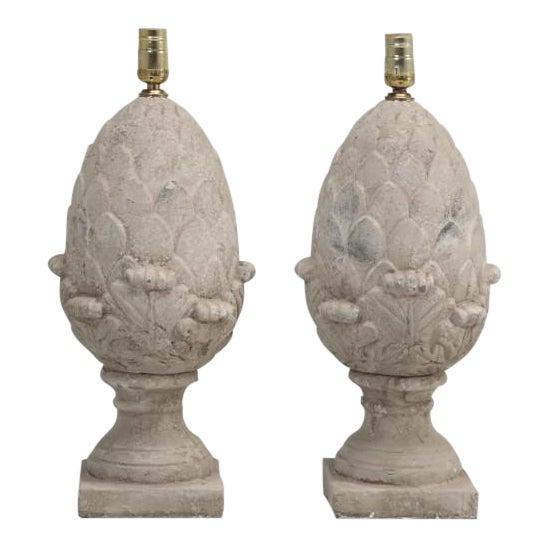 Artichoke Faux Stone Lamps - a Pair For Sale