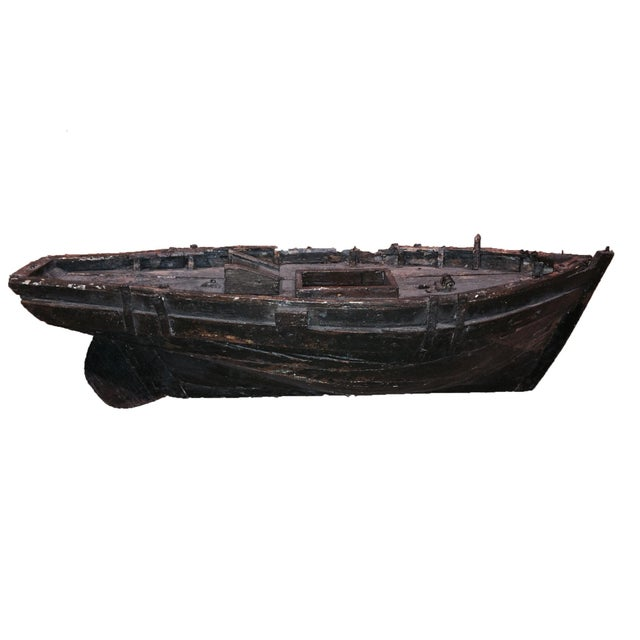 Nautical Decorative Wooden Boat For Sale - Image 3 of 6