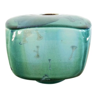 Modern Doug Kaigler Crystalline Gingko Leaf Square Studio Pottery Vase With Green Blue Glaze For Sale
