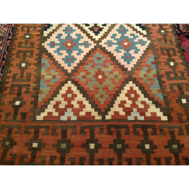 Persian Flat Woven Kilim Runner - 2′10″ × 12′3″ For Sale In Chicago - Image 6 of 13