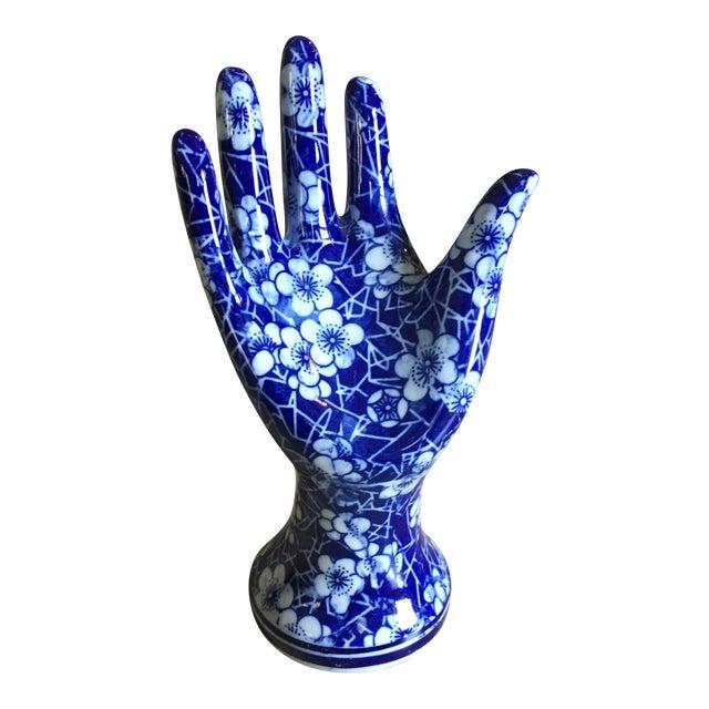 Blue & White Ceramic Hand Sculpture For Sale