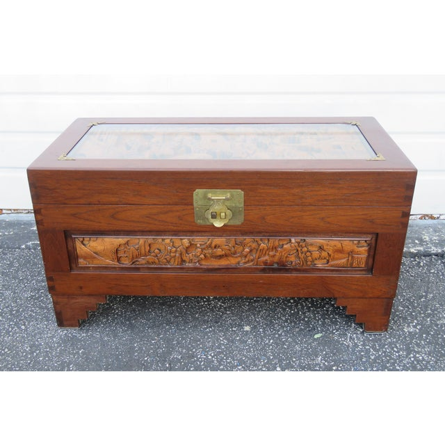 Heavy Carved Mahogany Oriental Small Chest Trunk Coffee Table Chairish