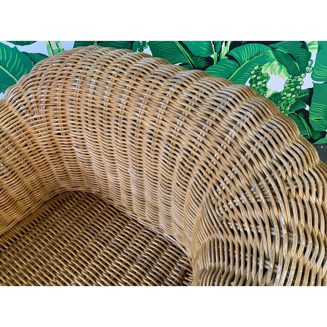 Wicker Sculptural Wicker Chair in the Manner of Michael Taylor For Sale - Image 7 of 9