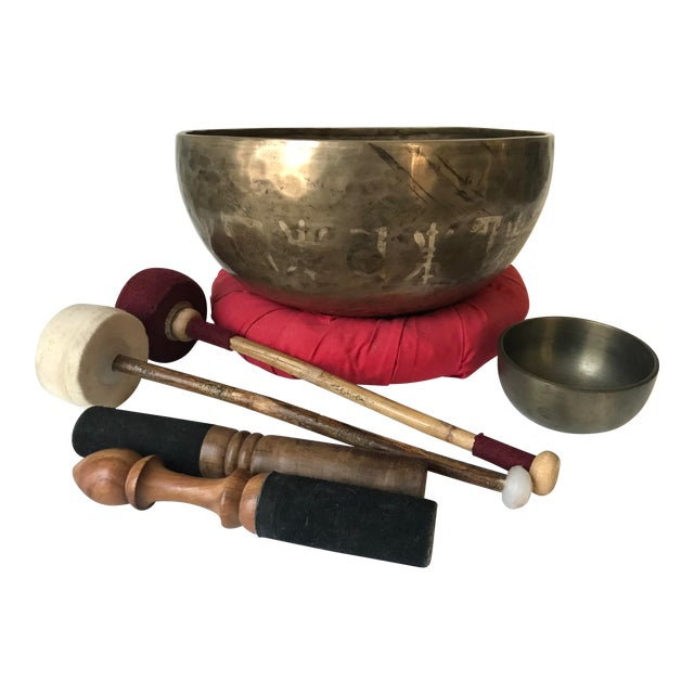 1970s Brass Tibetan Standing Bell Singing Bowl Set & Accessories - Set of 7 For Sale