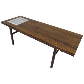Danish Rosewood and Royal Copenhagen Tile Coffee Table For Sale