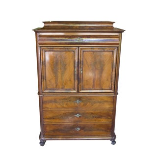 19th Century Biedermeier Antique Walnut Abante Dresser For Sale