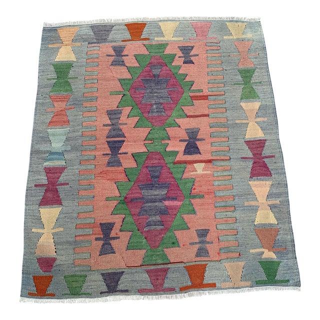 1990s Wool on Wool Village Rug - 3′ × 3′7″ For Sale