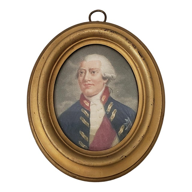 Early 19th Century Hand Colored Miniature Portrait Engraving of King George III C.1804 For Sale
