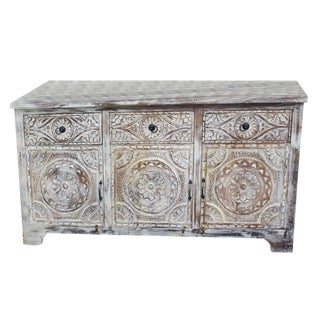 1920s Rustic Boho Lotus Carved Whitewashed Distressed Credenza For Sale