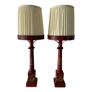 Chinese Painted Red Metal Table Lamps - a Pair For Sale