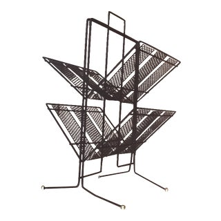 Atomic Metal Mesh Black Bi-Level Magazine Rack For Sale