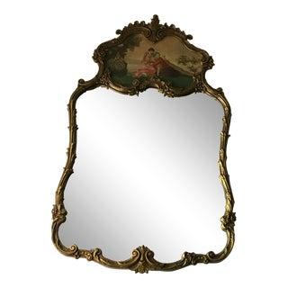 French Rococo Style Gold & Cream Trumeau Mirror/Final Price