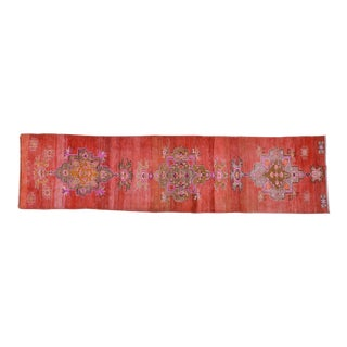 "Vintage Kurdish Red Wool Runner Rug - 3'x11'10"""