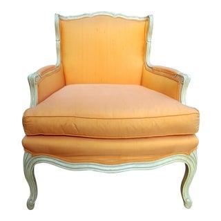 Henredon White Frame Orange Upholstery Louis XV Down Fill Bergere Chair For Sale