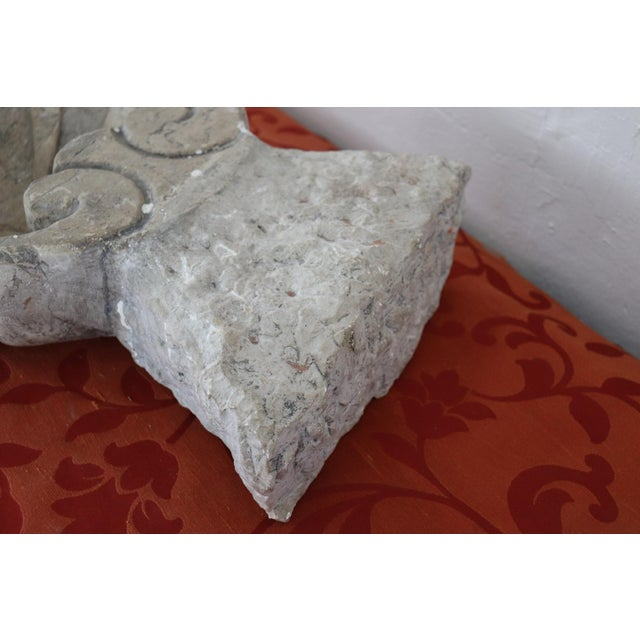 Beautiful rare Italian carved Carrara white marble font. Authentic Baroque era. The holy water font has a typical shell...