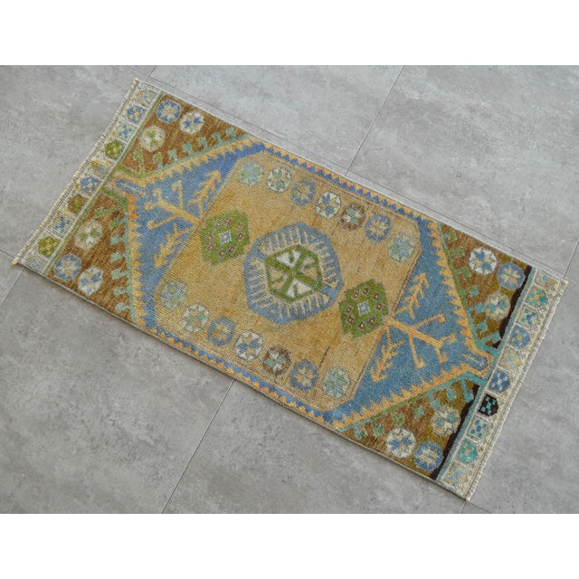 """Hand Knotted Door Mat, Entryway Rug, Bath Mat, Kitchen Decor, Small Rug, Laundry Decor Dimensions: 18.9"""" x 39.8"""" or 1 ft 7..."""